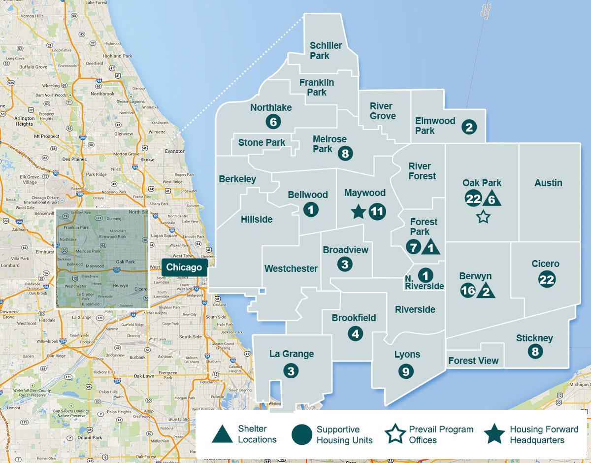 Oak Park Chicago Map.Housing Forward Ending Homelessness With Housing Support Shelter